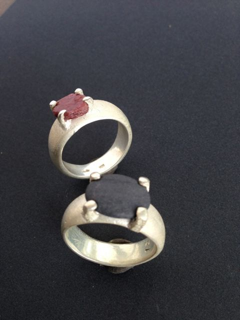 Sand-cast silver with raw ruby and beach stone