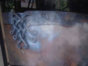 'Thor's Beard' Detail on the cauldron  forged and riveted by Richard Coumbe, Blacksmith