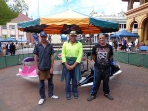 The wonderful Warren Lawrence (left) with a couple of his mates and his Carousel at the Mall Markets (last Sunday of the month) Armidale NSW