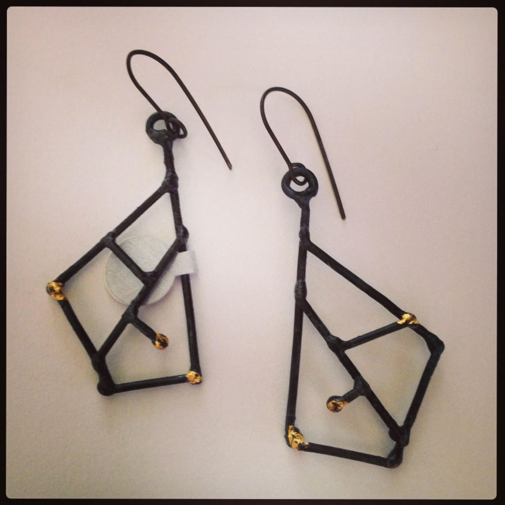 Earrings ...Welded Steel and 23K Gold leaf