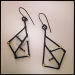 Earrings ...Welded Steel and 23K Gold leaf