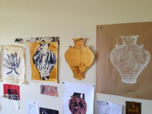 Ancient Greek Octopus Motief funerary urn inspired prints (a working wall) Rhonda Ellis, Armidale NSW artist