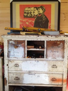 "The Yellow shed tool chest.. Drawers labled ""fishin'"" and ""plaines"" (a vast and beautiful mind!)"