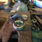 Signet ring.. sand cast, sand-blasted, blackened and set with a Lab-grown Sapphire