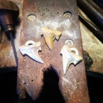 Fossilized Shark Tooth .. sand cast in silver