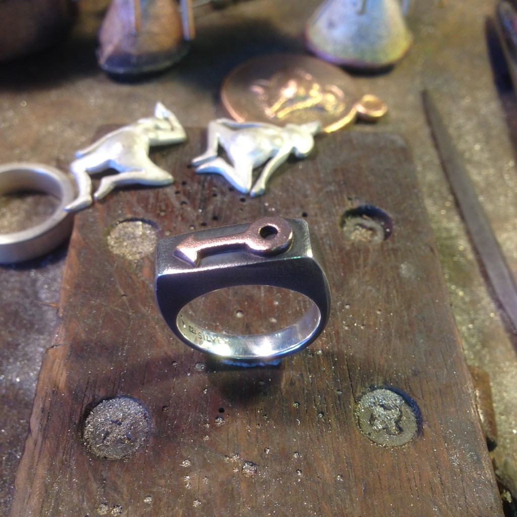 Sand cast silver Bloke ring