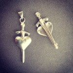 Pierced by Love ... Sandcast silver Pendant and brooch