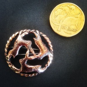 Three Hares, sand-cast Bronze Brooch