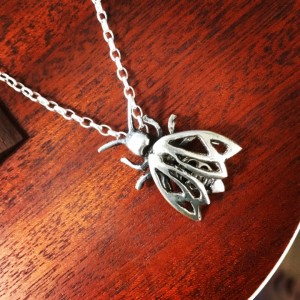 Bee pendant, Sterling silver