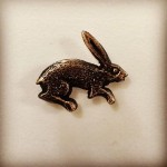 THE RUNNING HARE Brooch.. sand-cast silver or bronze