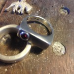 Sand cast Signet Ring with Lab-grown synthetic Ruby
